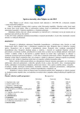 Správa starostky obce Šelpice za rok 2013