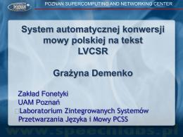 System automatycznej konwersji mowy polskiej na