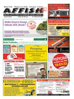 NOWOŚCI i PROMOCJE - AFFISH Ogłoszenia – reklamy – Biała