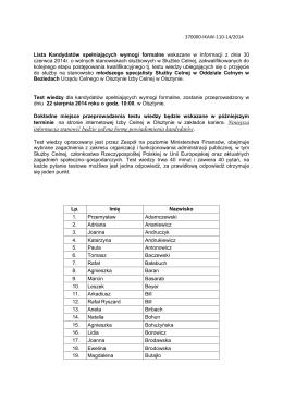 Lista Kandydatów spełniających wymogi formalne OC Bezledy