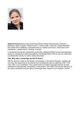 Adela Kovárová absolvovala národohospodársku