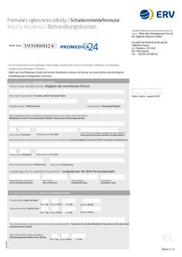 Formularz zgłoszenia szkody - Koszty leczenia (pdf)