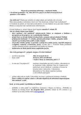 Myjavské gymnázium informuje o možnosti štúdia v 8