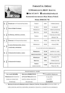 Liturgický program: 12.5. – 25.5.2014