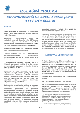 Environmentálne prehlásenie ( EPD) o EPS izoláciách