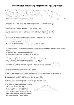 Przykład zadań na klasówkę - trygonometria kąta wypukłego