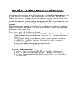 plán práce výchovného poradcu na školský rok 2014/2015