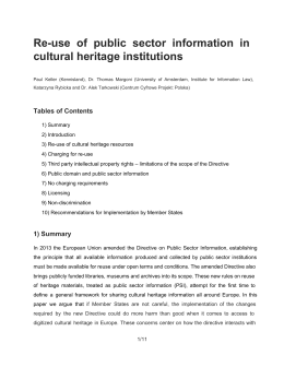 Reuse of public sector information in cultural heritage