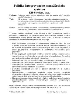 Politika IMS - EIP services, sro