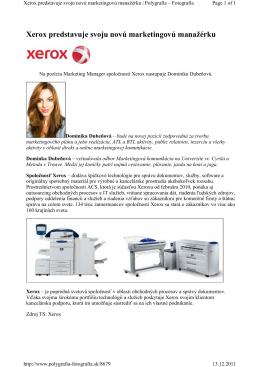 Xerox predstavuje svoju novú marketingovú manažérku