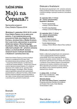 Tlačová správa COČ 2014 – Sprievodný program