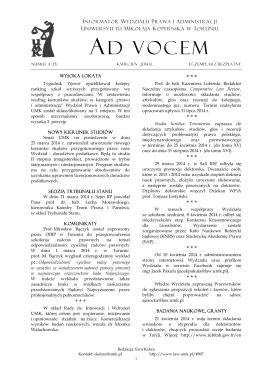 Ad Vocem 2014, nr 4 - Wydział Prawa i Administracji UMK