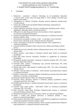 Lista tematów do części ustnej egzaminu maturalnego 2015