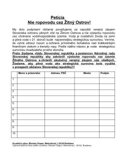 Petícia Nie ropovodu cez Žitný Ostrov!