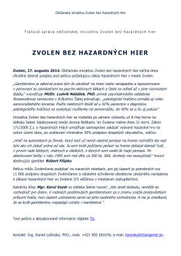Tlačová správa - Zvolen bez hazardných hier 27.08.2014