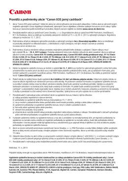 """Pravidlá a podmienky akcie """"Canon EOS jarný cashback"""""""