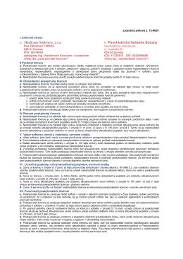Licenčná zmluva č. 13-0001 - Psychiatrická liečebňa Sučany