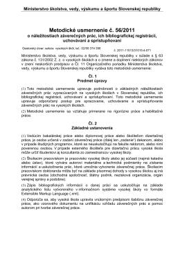 Metodické usmernenie 56/2011
