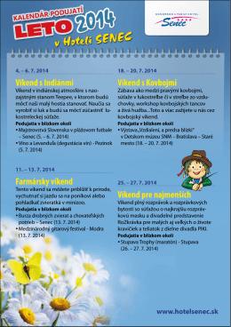 Kalendár podujatí LETO 2014 v Hoteli SENEC a