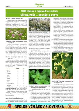 včelia paša – nektár a kvety