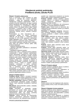 Všeobecné poistné podmienky Predĺžená záruka, Záruka PLUS