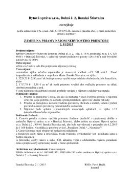 Bytová správa s.r.o., Dolná č. 2, Banská Štiavnica