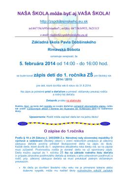 Informácie o zápise.pdf - Základná škola Pavla Dobšinského