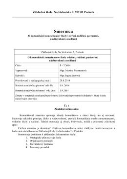 Smernica Š - ZŠ Na bielenisku
