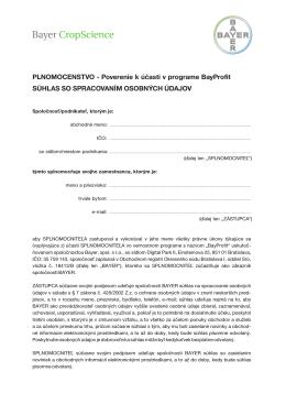 Plnomocenstvo - Poverenie k účasti v programe BayProfit