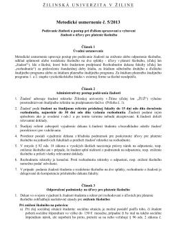 Metodické usmernenie č. 5/2013