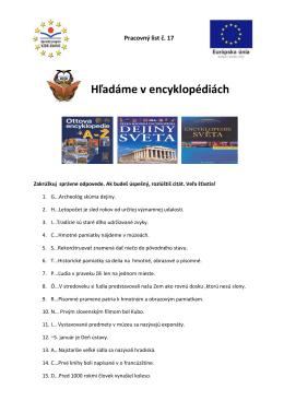 Hľadáme v encyklopédiách