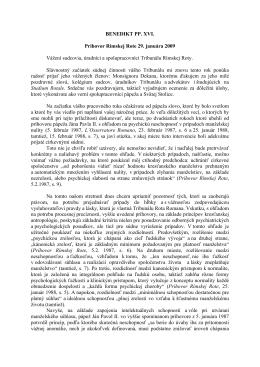 Príhovor Benedikta XVI. 29. 1. 2009
