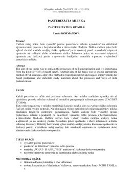 PASTERIZÁCIA MLIEKA - Olympiáda techniky Plzeň