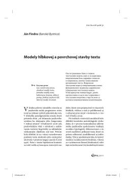 Modely hĺbkovej a povrchovej stavby textu