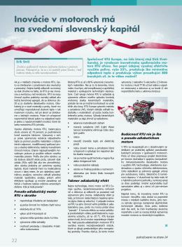 Inovácie v motoroch má na svedomí slovenský kapitál