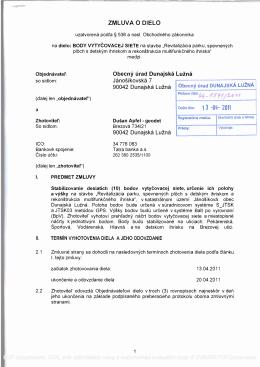 ZMLUVA O DIELO Obecný úrad Dunajská Lužná Jánošíkovská 7