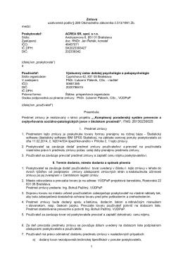 Zmluva o prenajme štatist.software ACREA SR