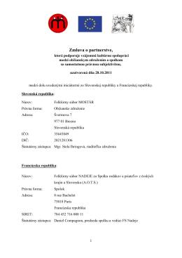 Zmluva o partnerstve, - Folklórny súbor Mostár Brezno