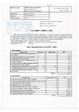TOBNÝ VÝMER č. 6464 daň z nehnuteľností na rok 2011 takto: