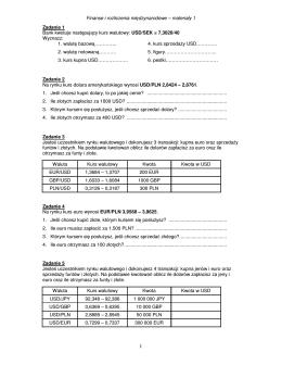 Międzynarodowe Rynki Finansowe – ćwiczenia 1 Zadanie 1 Bank