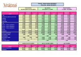Cenník - zimná sezóna 2014/2015 Price list - winter 2014