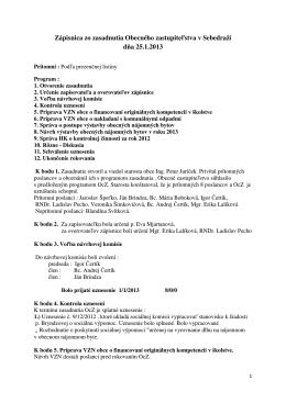 Zápisnica zo zasadnutia Obecného zastupiteľstva v