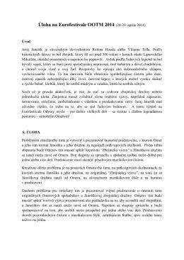 Úloha na Eurofestivale OOTM 2014 (24-29. apríla