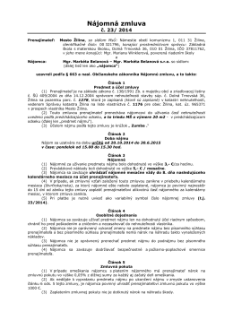 Nájomná zmluva - Základná škola s materskou školou, Dolná