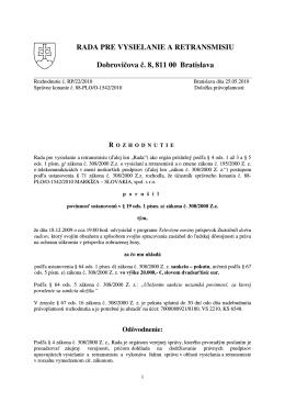 RP/22/2010 - Rada pre vysielanie a retransmisiu