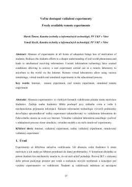 Voľne dostupné vzdialené experimenty Freely available remote