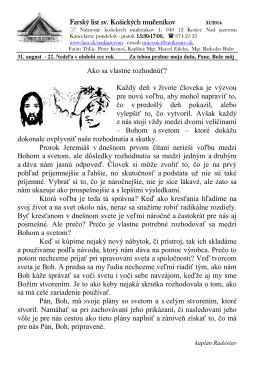 31. August 2014 - Farnosť sv. košických mučeníkov