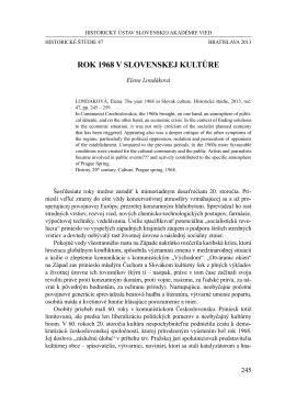 ROK 1968 V SLOVENSKEJ KULTÚRE