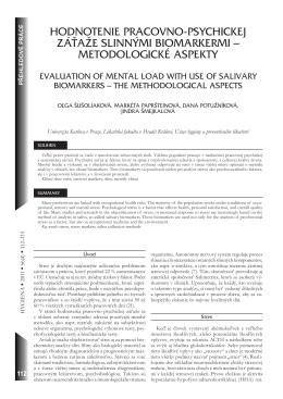 hodnotenie pracovno-psychickej záťaže slinnými biomarkermi
