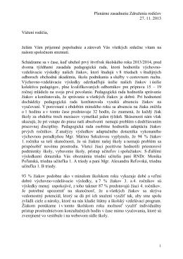 Príhovor riaditeľky školy RNDr. V. Mikulovej